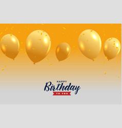 Golden happy birthday balloons background vector