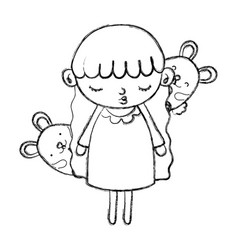 Grunge beauty girl child with mice animals vector