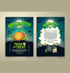 halloween party cartoon trick or treat vector image