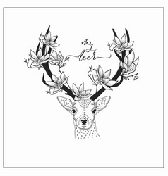 hand drawn deer head logo vector image