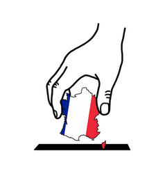hand voting with franch map with color flag color vector image