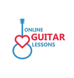 Heart guitar logo vector