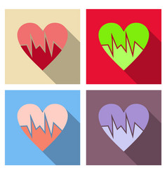 Heartbeat icon red and rose heart with cardio line vector