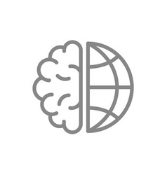 Human brain with planet line icon world brain day vector