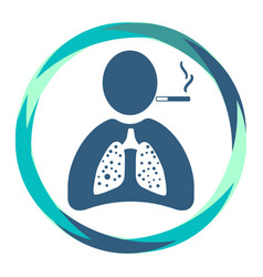 Human icon with cigarette and sick lungs vector