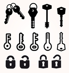 Icon Key Black Silhouette decorative items vector image