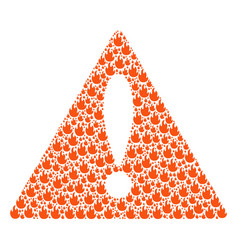 Important triangle sign collage of fire flame vector