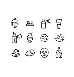 korean japanese foam cleanser beauty icons vector image