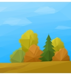 Landscape Autumn Forest Low Poly vector