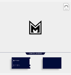 Letter m am ma mm monogram logo design minimal vector
