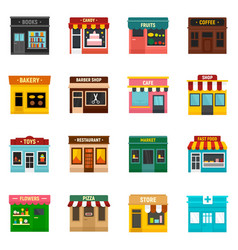 Local business icons set flat style vector