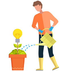 Man gardener with watering can pours water on vector