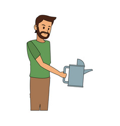 Man with watering can icon image vector