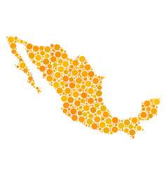 Mexico map collage of filled circles vector