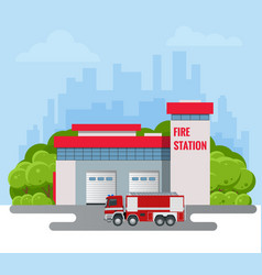 Modern fire station building vector