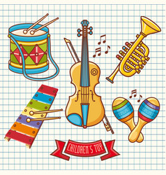 Musical instruments childrens toys set violin drum vector