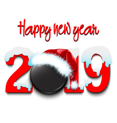 New year numbers 2019 and hockey puck vector