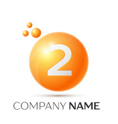 Number two splash logo orange dots and bubbles vector