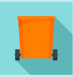 orange trash can icon flat style vector image