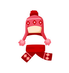 ornamented knitted childish chullo and girly scarf vector image