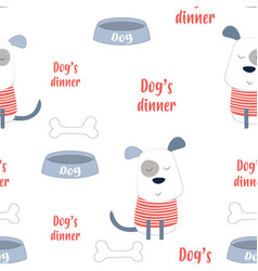 Pattern dog in scandinavian style vector