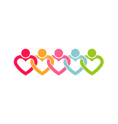people line of hearts logo vector image