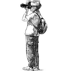 photographer tourist vector image