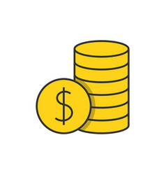 pile with coins flat line icon vector image