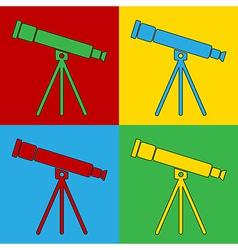 Pop art telescope icons vector image