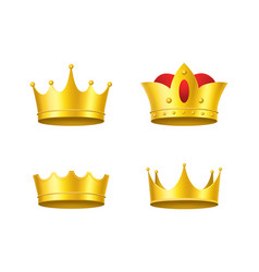 realistic detailed 3d golden crowns set vector image