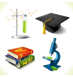 Realistic education icons set vector