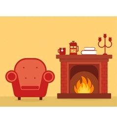 Room interior with fireplace and armchair vector