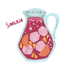 Sangria with ice jug with fruit alcoholic drink vector