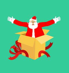 santa claus from open gift box congratulations vector image