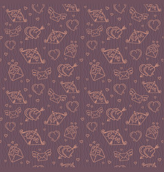 seamless pattern for valentines day with hearts vector image