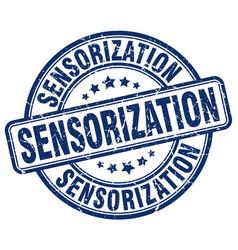 Sensorization blue grunge stamp vector