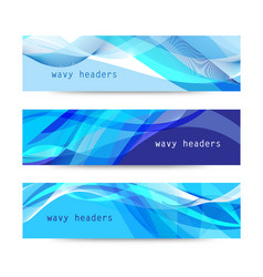 set abstract blue wavy headers vector image