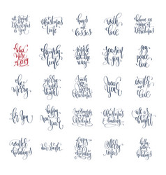 set of 25 hand lettering inscription text to vector image