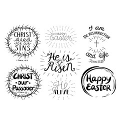 Set of 7 hand lettering quotes about easter vector