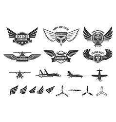 Set of flying club labels and emblems vector