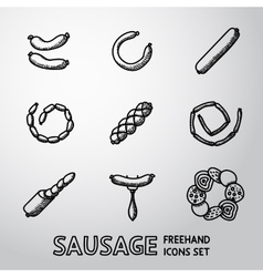 Set of freehand Sausage icons with different vector image
