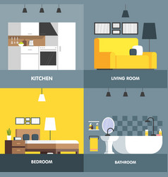 set of interior design room living room bedroom vector image