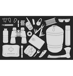 Set of survival camping equipment chalk vector