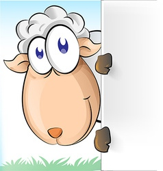 sheep cartoon with background vector image