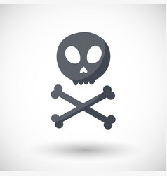 Skull and crossbones flat icon vector