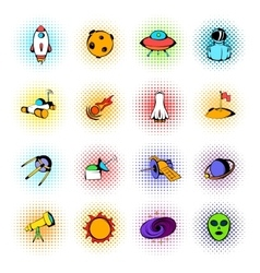 Space icons comics vector image