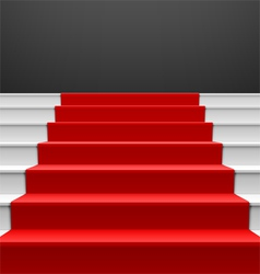 Staircase with red carpet vector image