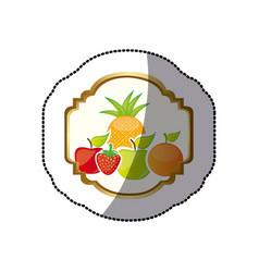Sticker colorful silhouette decorative heraldic vector