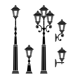 street lamps collection vector image