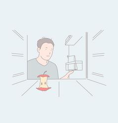 Strict diet empty fridge hunger feeling concept vector